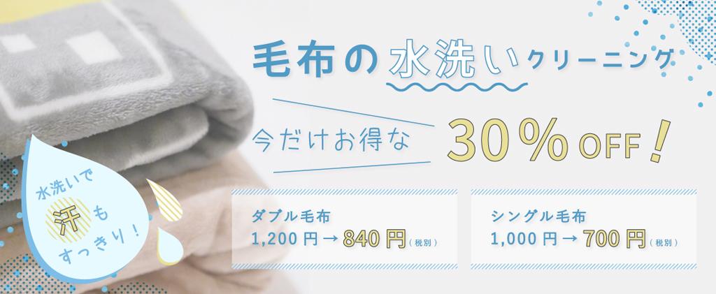 毛布の水洗い30%OFF